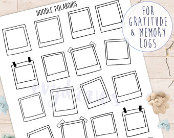 Polaroid Picture Frame Stickers | Doodle Art Printables, Coloring Frames, Memory & Gratitude Log Polaroids, DIY Printable Journaling Sticker
