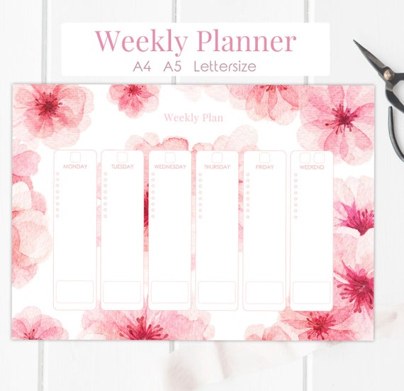 Floral Weekly Planner Printable Page A5 A4 Letter Desk Etsy