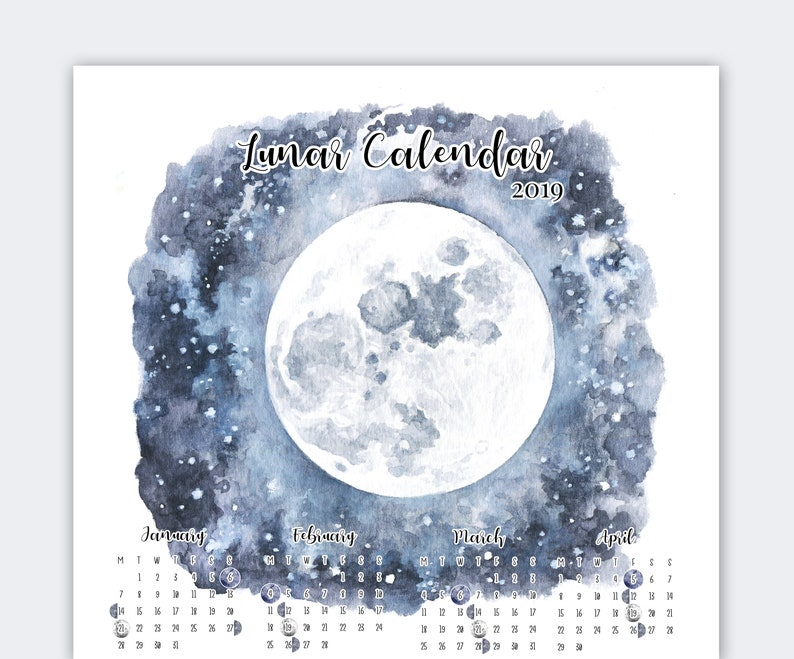 Lunar Calendar 2019 PRINTABLE Moon Phases Yearly Overview, Wall Calendar  Digital Download, Watercolor Moon Painting, Illustrated Planner