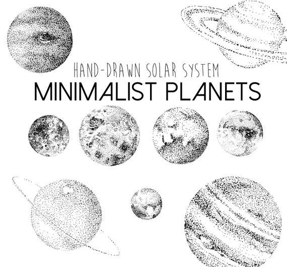 Minimalist Planets Clipart Solar System Planet Moon