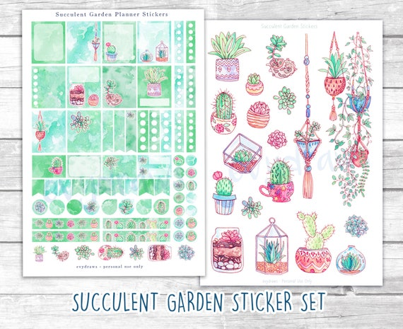 Set Succulent Garden Planner Stickers For Erin