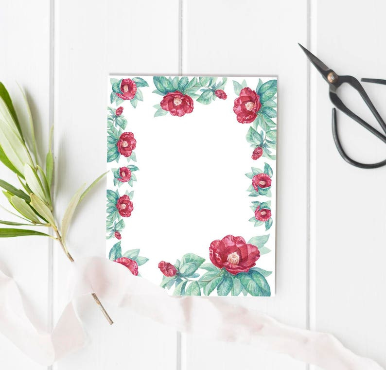 photo regarding Watercolor Floral Border Paper Printable identified as Printable Letter Paper Floral Watercolor Stationery Aquarelle Camellia Flower Crafting Paper, Letter Measurement and A5, Hand Drawn Printables