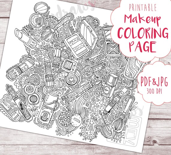 Makeup Art Printable Coloring Page Hand Drawn Doodle Pattern Illustration Art Printable Coloring For Adults Digital Print Vanity Decor