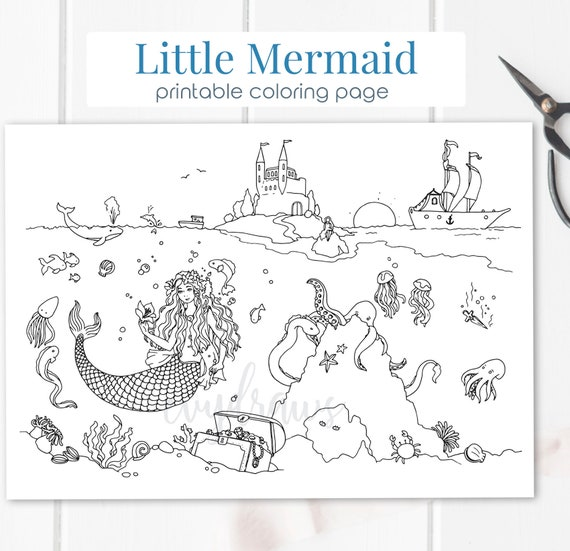 Little Mermaid Fairy Tale Coloring Page Printable Digital Etsy