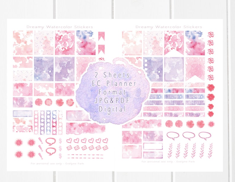 picture about Sticker Printable Paper named Watercolor Planner Stickers Printable - Hand Drawn Aquarelle Textures  Icons, Erin Condren Planner, Weekly Do-it-yourself Stickers, Planner Printable