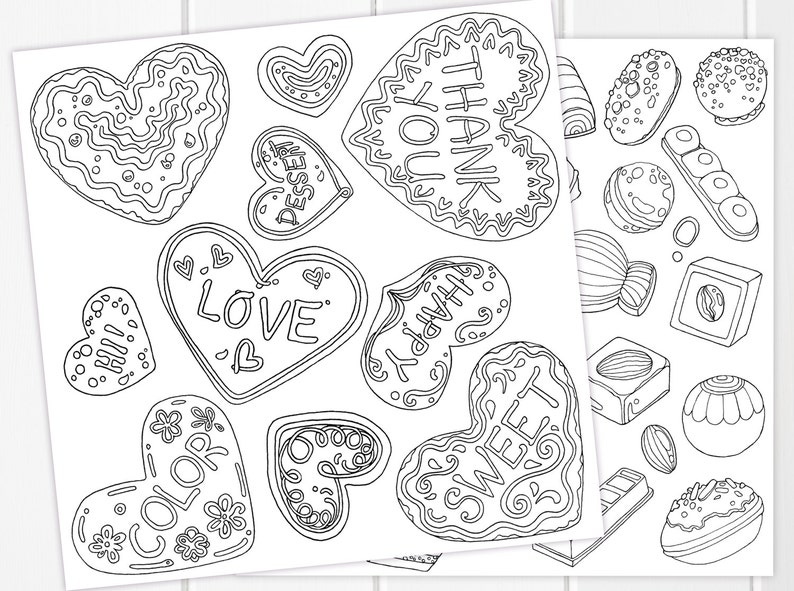Valentines Day Cookies Chocolates Coloring Pages