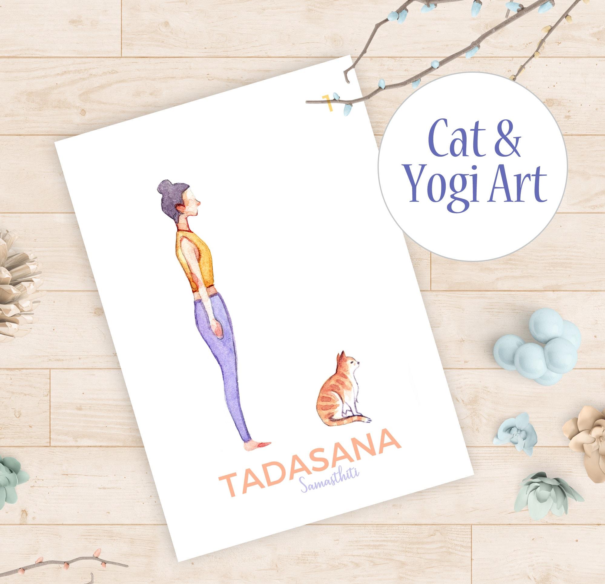 50 Yoga Cards   Sun Salutation A Printables   Yoga Poses Card Printable,  Asana Surya Namaskar, Ashtanga Sanskrit Yogi Gifts, Watercolor Art
