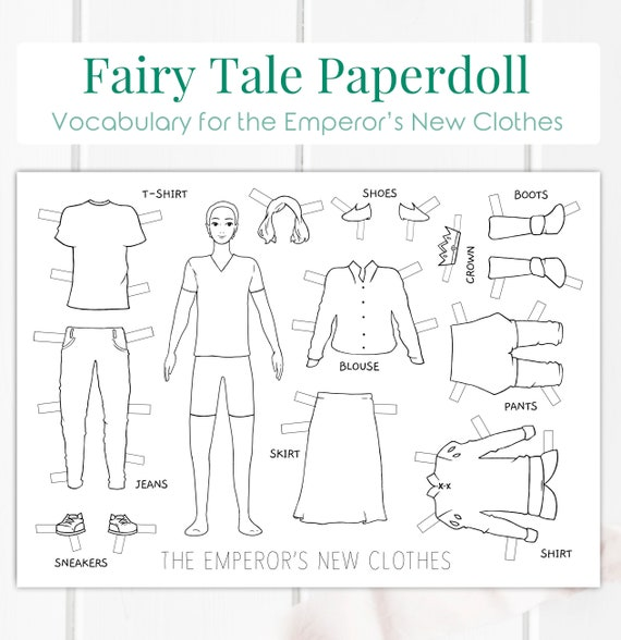 picture regarding Printable Fairy Tales Pdf named Emperors Refreshing Apparel Fairy Story Printable Do it yourself Paperdoll Electronic  House-Training, Schooling, Dresses Vocabulary for English Mastering PDF