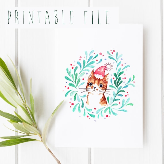 Printable Christmas Cards.2 Printable Christmas Cards Watercolor Illustration Cute Holiday Cards Greeting Card Printables Diy Gift Cards Cat Portrait Download
