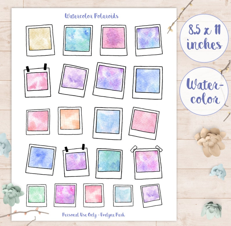 photograph about Cute Printable Stickers known as Watercolor Polaroid Stickers Printable Lovable Watercolour Artwork Sticker Sheet, Magazine Decor, Polaroids Envision Printables Reminiscences Graude