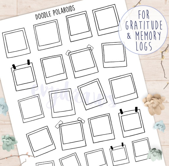 Polaroid Picture Frame Stickers Doodle Art Printables Etsy
