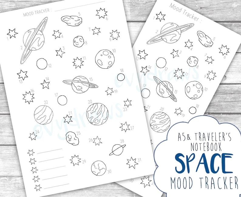 photograph relating to Bullet Journal Mood Tracker Printable identified as Outer Room Temper Tracker Printable Bullet Magazine Site Obtain, Vacationers Laptop computer, A5 Planner Include, Regular Style and design, Planets Famous people