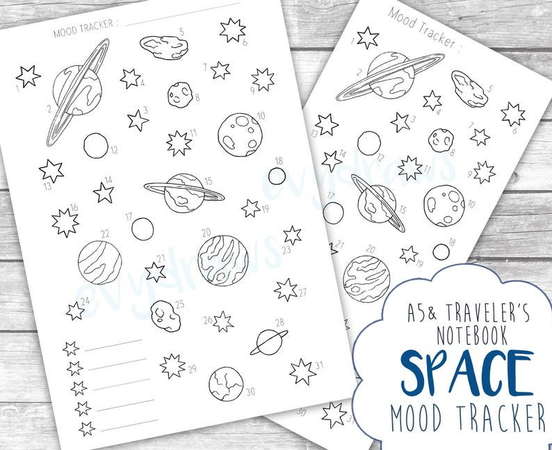 graphic relating to Mood Tracker Bullet Journal Printable titled Outer Region Temper Tracker Printable Bullet Magazine Web page Down load, Holidaymakers Laptop, A5 Planner Include, Regular monthly Design and style, Planets Celebrities