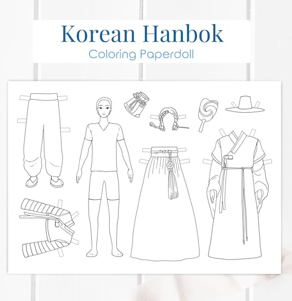 Korean Hanbok Paperdoll Printable Traditional Korea Coloring Etsy - Korean-hanbok-coloring-pages