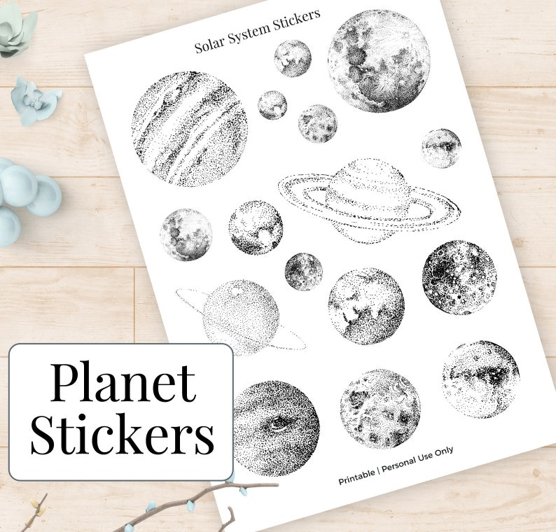 picture about Printable Planet known as Globe Stickers Printable Planets Moon Case in point Sticker, Outer Region Artwork Sunshine Method Printables, Astrology Magazine Planner Decor