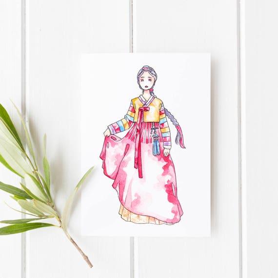 Korean Hanbok Cards Greeting Cards Korea Illustration