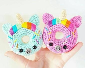 100% cotton crochet handmade donut Unicorn amigurumi kawaii for children's room decor baby birth gift made in France