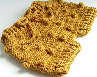 Short bloomers Popcorn Retro Crochet over 75% wool mustard for a Vintage Look sizes babies 0-3 M 6-12 M made by hand in France