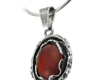 Sterling Silver Pendant, Red Carnelian pendant, Women pendant, Sterling silver, handmade