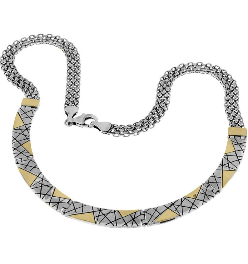 Sterling Silver and Gold Necklace Anniversary gift Luxury jewelry handmade