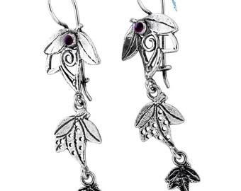 Sterling Silver Earrings, Garnet Earrings,  Silver Jewelry, handmade