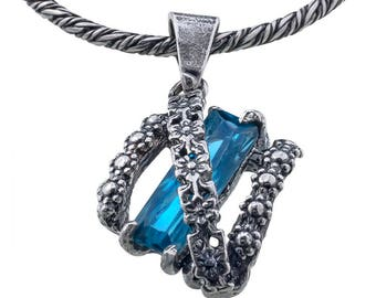 Silver Pendant, Blue CZ pendant, Women pendant, Sterling silver, handmade
