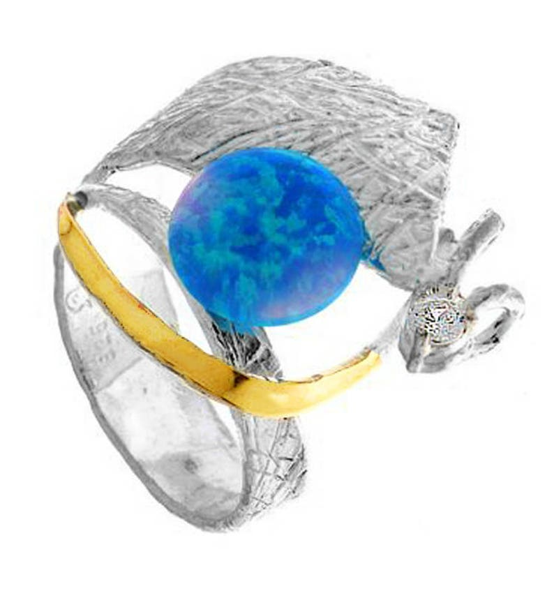 Pearl Clear CZ  synth Blue Opal handmade Clear CZ Ring Silver and Gold ring Unique silver ring Womens silver ring