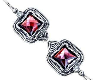 Silver Earrings, Garnet Earrings, Sterling Silver Earrings, Silver Jewelry