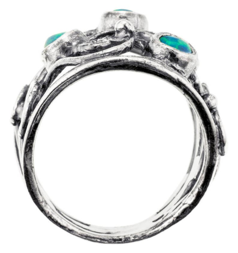 Unique silver ring synth Blue Opal Ring Silver ring handmade Womens silver ring Gemstone ring
