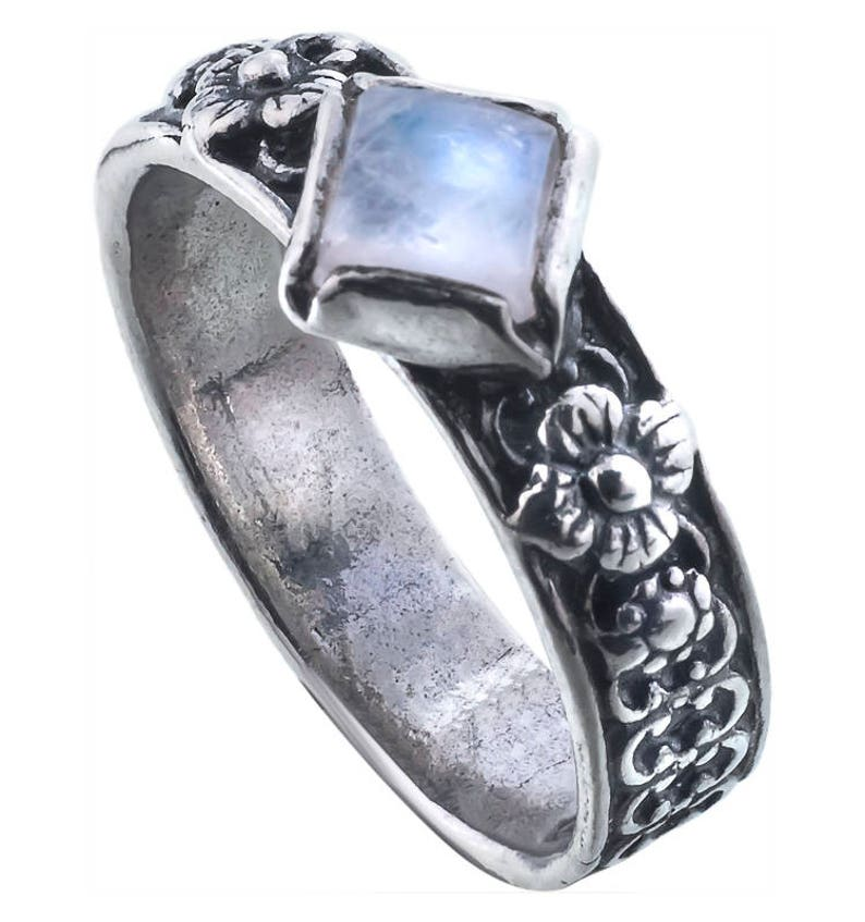 Silver Moonstone ring handmade jewelry birthday gift August birthstone ring sterling silver ring