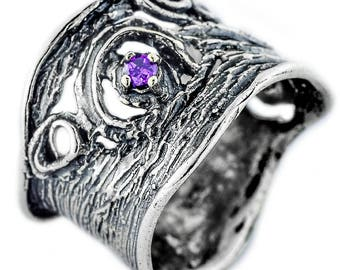 Sterling Silver Ring, Purple CZ Ring, Fashion Jewelry Gift, handmade