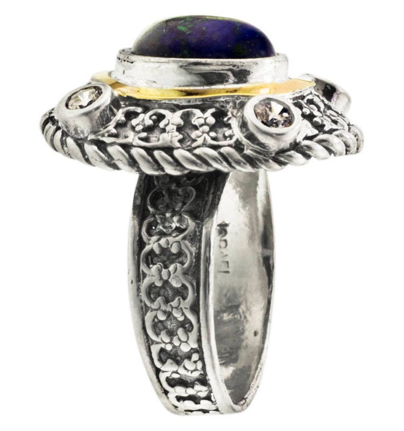 handmade Ring Lapis Lazuli Silver and Gold ring Womens silver ring Gemstone ring Unique silver ring Azorite