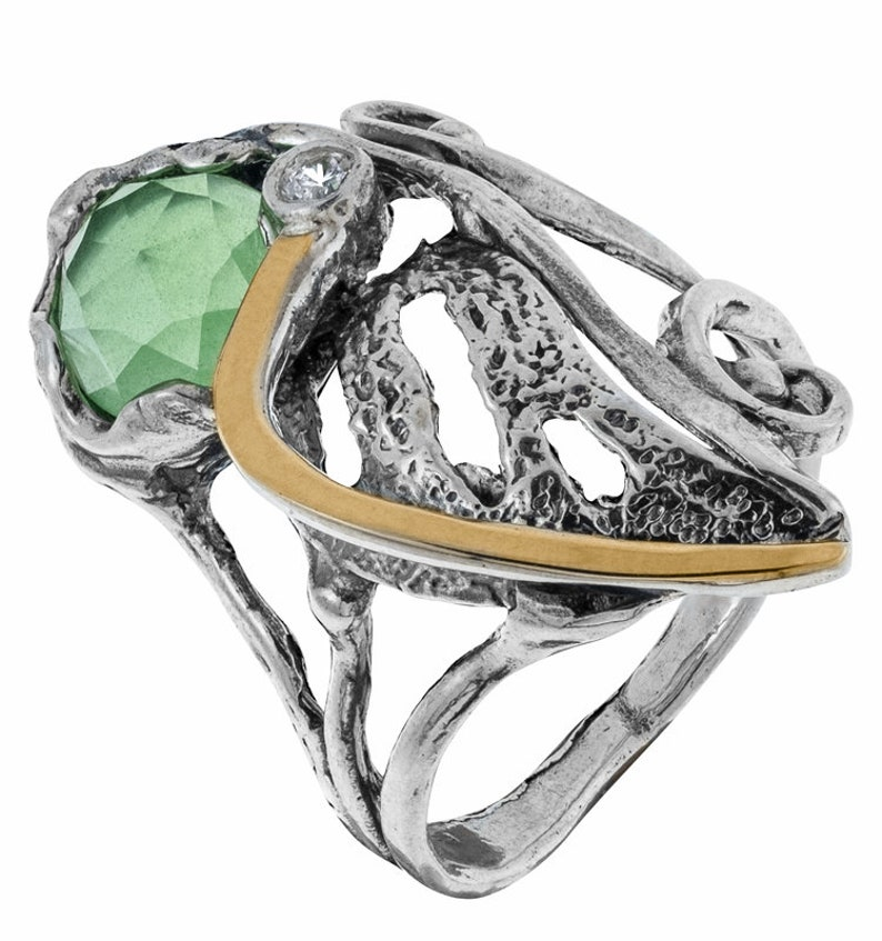 Sterling Silver Ring August birthstone Ring Gift Handmade Silver Ring Silver and Gold Ring Green Chalcedony Ring Two tone ring