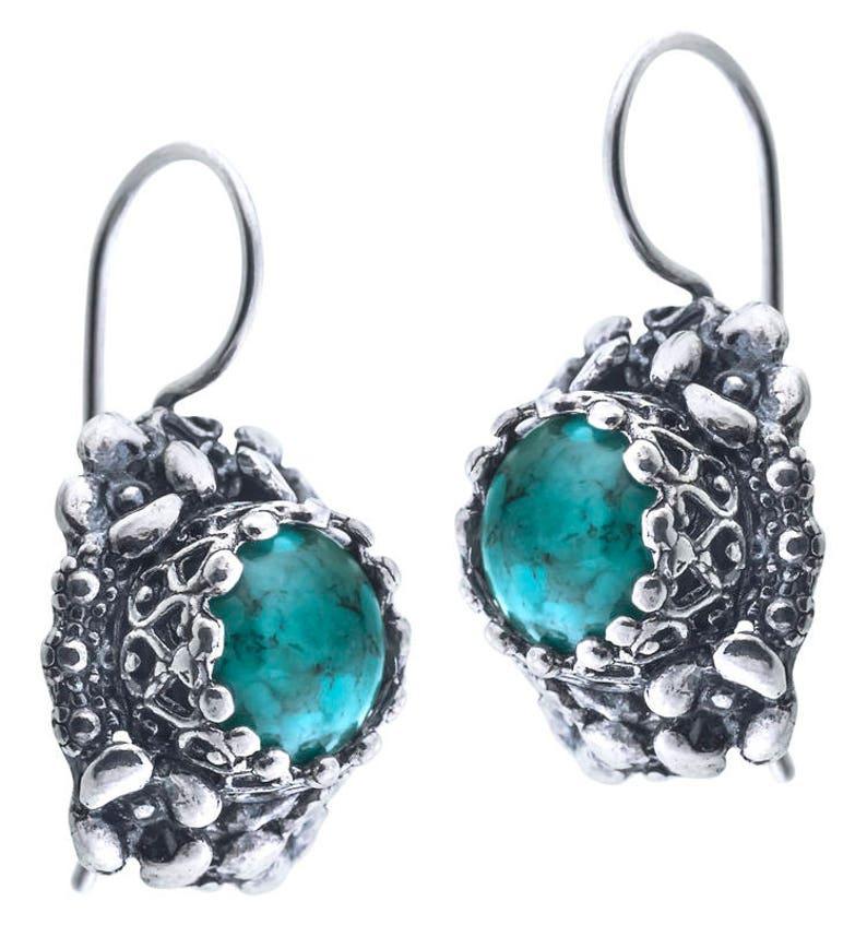 Silver Jewelry Summer Handmade Jewelry Turquoise Earrings Sterling Silver Earrings August Birthstone Silver Earrings