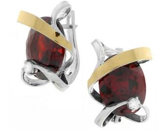 Silver and Gold Earrings, Garnet Earrings, Sterling Silver Earrings,  Silver Jewelry