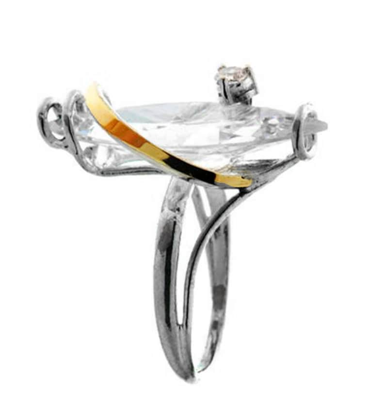 Womens silver ring handmade Silver and Gold ring Clear CZ Ring Unique silver ring