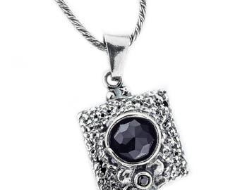 Silver Pendant, Black CZ pendant, Sterling silver, handmade
