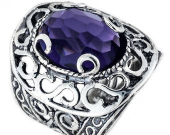 Silver ring, Purple CZ Ring, Womens silver ring, Gemstone ring, Unique silver ring, handmade