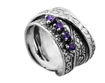 Zircon Ring, Sterling silver Ring, Sterling silver zircon ring, Purple zircon ring, December birthstone ring, handmade Ring