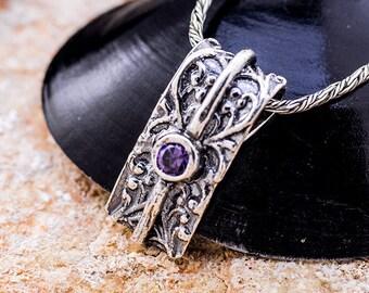 Sterling Silver Pendant, Purple CZ pendant, Women pendant, Sterling silver, handmade