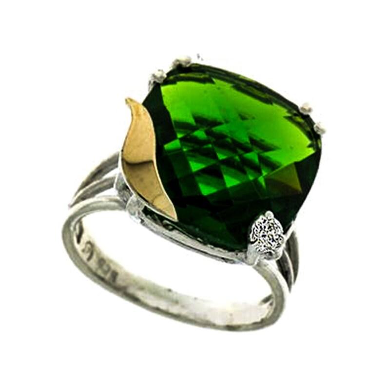 Green Zirconia Ring Sterling Silver Ring December Birthstone 9 Karat Gold Ring handmade Silver and Gold Ring Fashion Ring