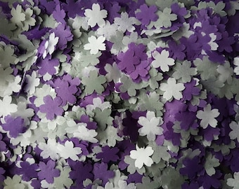 2 Handfuls Of Wedding Throwing Confetti Cherry Flower ShapedPurple And Grey White Table DecorationRomantic Spring Summer Colours