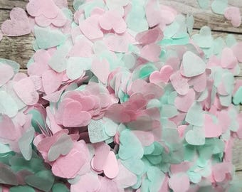 Mint green and soft Pink heart wedding throwing confetti!Party,Table Decoration.Romantic spring summer.Biodegradable 2-20 handfuls