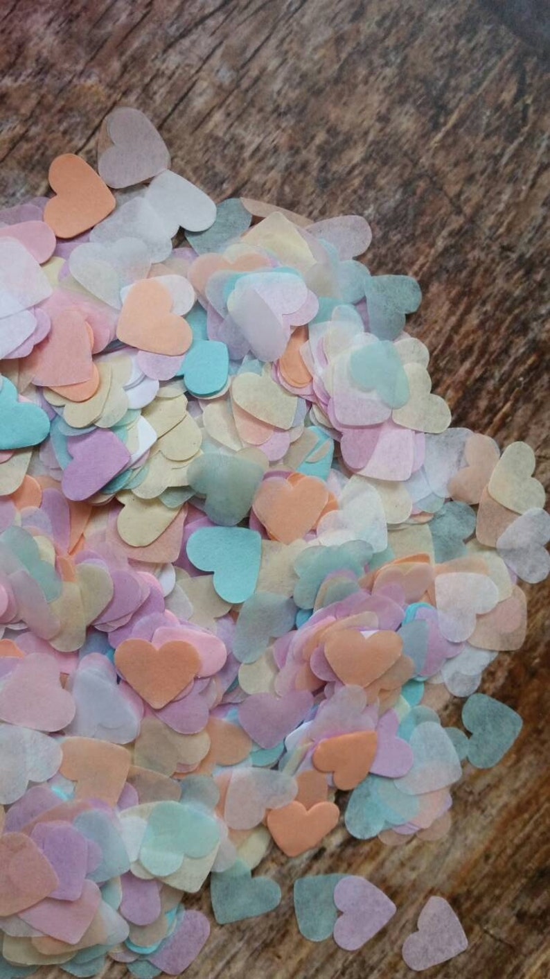Pink & cream heart wedding confetti-pastel-vintage theme party-table decorations Confetti