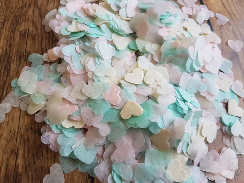 Ivory Mint and Blush powder pink mix heart confetti!Wedding,party decoration,throwing!Babyshower Romantic  Biodegradable 2-100 handfuls