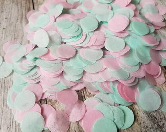 Mint green and Soft Pink  Circle confetti mix.Wedding throwing confetti!Table Decoration.Romantic summer.ECO, 5 -120 handfuls, 25gr - 300gr