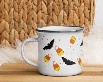 candy corn & bats enamel mug - halloween costume party favor