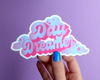 Day Dreamer Sticker. Laptop Sticker. Car Bumper Decal. Clouds and Stars. Calligraphy Art. Modern Witch Vibes