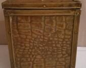 Vintage Brass Tea caddy, Vintage Brass Tin Lined Tea caddy, Vintage Brass, Patterned Tea Caddy Or Tea Canister,