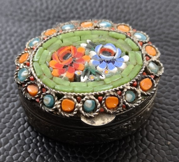 Vintage Small Metal Murano Style Pill Or Trinket Pot Floral Murano Style Pill Pot With Floral Tesserae Decoration To Lid.